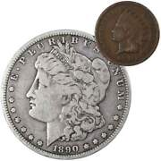 1890 O Morgan Dollar F Fine 90 Silver Coin With 1901 Indian Head Cent G Good