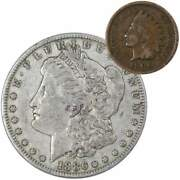 1886 Morgan Dollar F Fine 90 Silver Coin With 1900 Indian Head Cent G Good