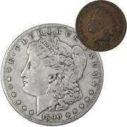 1890 S Morgan Dollar F Fine 90 Silver Coin With 1902 Indian Head Cent G Good