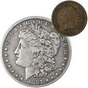1887 O Morgan Dollar F Fine 90 Silver Coin With 1899 Indian Head Cent G Good