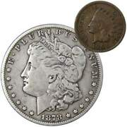1878 S Morgan Dollar F Fine 90 Silver Coin With 1901 Indian Head Cent G Good