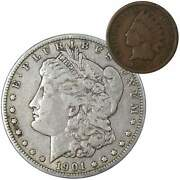 1901 O Morgan Dollar F Fine 90 Silver Coin With 1899 Indian Head Cent G Good