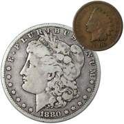 1880 O Morgan Dollar F Fine 90 Silver Coin With 1902 Indian Head Cent G Good