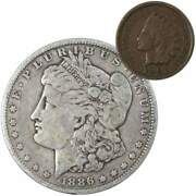 1886 O Morgan Dollar F Fine 90 Silver Coin With 1901 Indian Head Cent G Good
