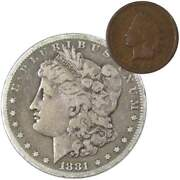 1881 S Morgan Dollar F Fine 90 Silver Coin With 1902 Indian Head Cent G Good