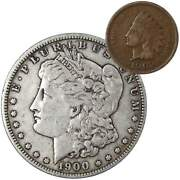 1900 O Morgan Dollar F Fine 90 Silver Coin With 1902 Indian Head Cent G Good