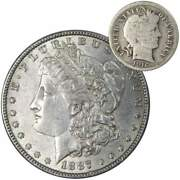 1887 Morgan Dollar Xf Ef Extremely Fine 90 Silver With 1916 Barber Dime G Good