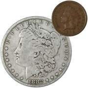 1882 Morgan Dollar F Fine 90 Silver Coin With 1899 Indian Head Cent G Good