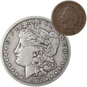 1902 Morgan Dollar F Fine 90 Silver Coin With 1900 Indian Head Cent G Good