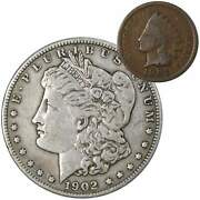 1902 O Morgan Dollar F Fine 90 Silver Coin With 1901 Indian Head Cent G Good