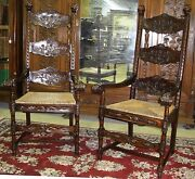 Large Antique Style Very Tall Highback Carved Country French Armchairs Rush Seat
