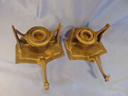 2 Vintage Candle Holders Wall Mount Table Black Cast Iron Early Americana Style
