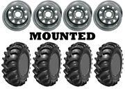 Kit 4 Interco Interforce R1 Tires 27x10-12 On Itp Delta Steel Silver Wheels Act
