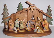 Hand Carved/hand Painted Maplewood Creche Set, Bavaria, Germany, Scully And Scully