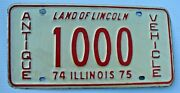 1974 1975 Antique Vehicle License Plate 1000 Il Historic Horseless Carriage