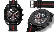 New Geneva Platinum 2667 Men's Flux Collection Black/red Silicone Large Watch