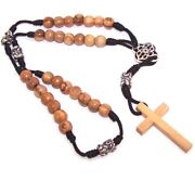 Olive Wood With Silver Tone And Black Enamel Beads Anglican Rosary 40cm Or ...