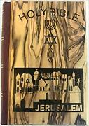 Jerusalem Bible Olive Wood Cover Carved With The Messianic Seal English 1094p