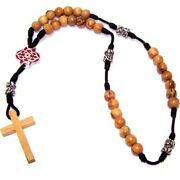 Olive Wood With Silver Tone And Red Enamel Beads Anglican Rosary 40cm Or 16...