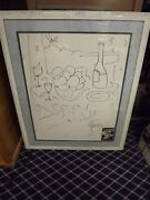 Tony Curtis-original-hand Drawing With Photo Framed Genuine 44x 35 Frame Size