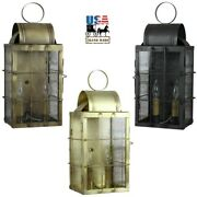 Solid Brass Outdoor Sconce - Danbury 2 Candle Light In 3 Finishes Usa Handmade