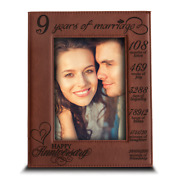 9 Years Of Marriage -our 9th Anniversary Gift -engraved Leather Picture Frame