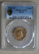 Gold Russia 5 Ruble 1894 Pcgs-holder Au 55 Very Rarely Nswleipzig