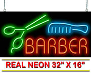 Barber With Scissors And Comb Neon Sign   Jantec   32 X 16   Haircut Shave Spa