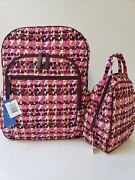 Nwt Vera Bradley Campus Tech Backpack And Lunch Bunch Set Andndash Houndstooth Tweed