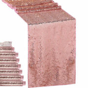 1/5/10pcs Rose Gold Glitter Sequin Table Runners Cloth Wedding Xmas Party Decor