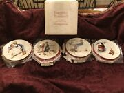 New In Org. Box Norman Rockwell Gorham 1972 Limited Ed. Four Seasons Wall Plates