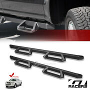 For 2005-2020 Tacoma Double Cab Matte Blk Aluminum Hoop Drop Step Side Nerf Bars