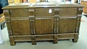 Oak Blanket Box Chest Cedar Lined Panel Top And Sides Carved Awesome Old Finish