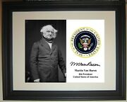 Martin Van Buren Presidential Seal 8th President Framed And Matted Photo Picture