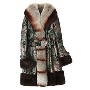 Womens Real Snow Floral Printed Fox Fur Collar Coats Duck Leather Outwear Parka