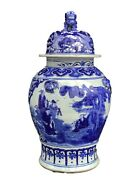 Superb Chinoiserie Chinese Lg Blue And White Porcelain Ginger Jar 23 H