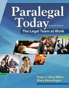Paralegal Today The Legal Team At Work By Roger Leroy Miller English Hardcove
