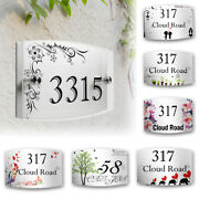 Custom Diy Acrylic House Number Signs Wall Garden Door Name Plate Plaques Decor