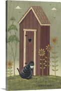 Outhouse With Cat Canvas Wall Art Print, Home Decor