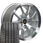 Silver 18x9 Wheels And 245/40zr17 Tire Set Ford Mustang Fr500 Style