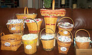 Longaberger Grandma Bonnieand039s May Series Lot 11 Of The 14 Basket Set And Extras