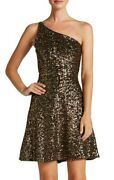 Dress The Population Tina Fit And Flare One Shoulder Antique Sequin Gold Dress