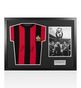 Framed Neil Young And Tony Book Signed Man City Shirt Wembley 1969 - Panoramic