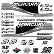 Mercury 25 Four 4 Stroke Decal Kit Outboard Engine Graphic Motor Stickers Silver