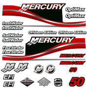 Mercury 50 Four 4 Stroke Decal Kit Outboard Engine Graphic Motor Stickers Red