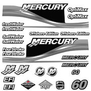 Mercury 60 Four 4 Stroke Decal Kit Outboard Engine Graphic Motor Stickers Silver