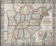 1848 Phelps National Map Of The United States Pocket Map