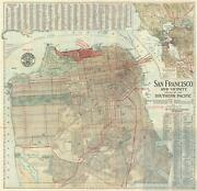 1914 Southern Pacific Railroad City Map Or Plan Of San Francisco California