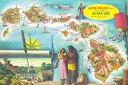 1960 Aloha Airlines Pictorial Route Map Of The Hawaiian Islands