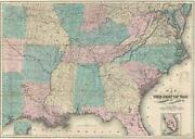 1866 Case Map Of The Southern United States During Civil War
